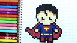 Drawn pixel art super man