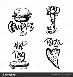 Drawn pizza fast food