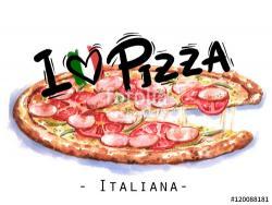 Drawn pizza italian food