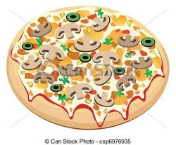 Drawn pizza mushroom pizza