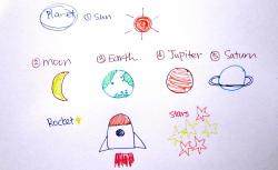 Drawn planets cute cartoon