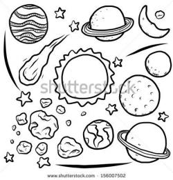 Drawn planets illustration