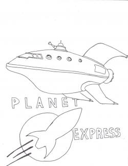 Drawn planets ship line