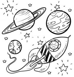 Drawn planets space rocket