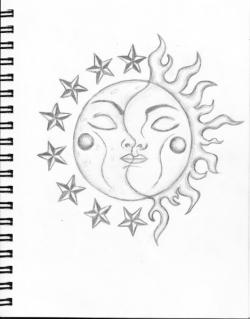 Drawn planets sun moon