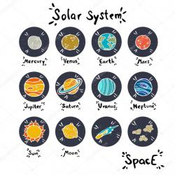 Drawn planets vector