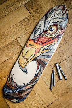 Drawn skateboard graphic design
