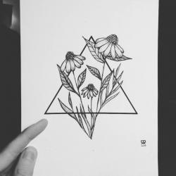 Drawn tattoo line drawing