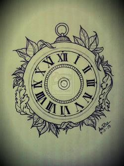 Drawn tattoo clock
