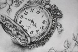 Drawn pocket watch clockwork