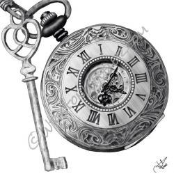 Drawn pocket watch cog