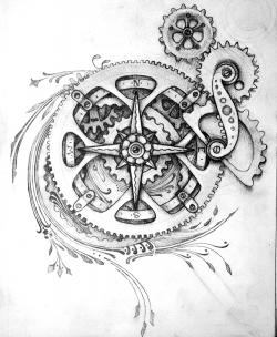 Drawn compass detailed