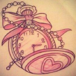 Drawn pocket watch girly