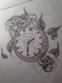 Drawn pocket watch rose vine