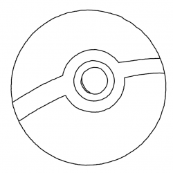 Drawn pokeball black and white