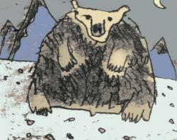 Drawn polar  bear north pole