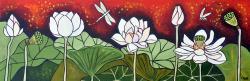 Drawn pond lotus pond