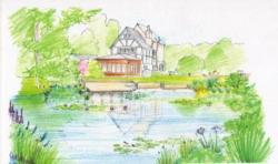 Drawn pond sketch