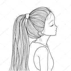 Drawn ponytail black and white