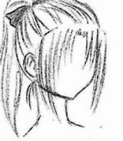 Drawn ponytail hairstyle