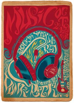 Drawn poster soul music