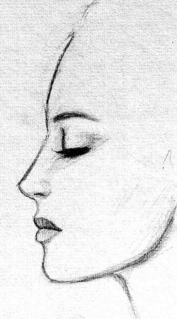 Drawn witchcraft profile face