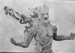 Drawn raccoon groot