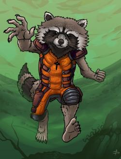 Drawn galaxy rocket raccoon