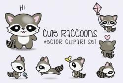 Drawn raccoon kawaii