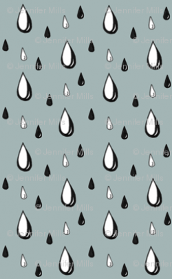 Drawn raindrops