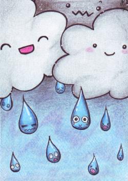 Drawn raindrops cute
