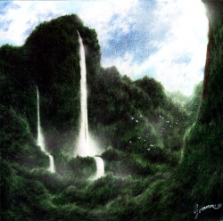 Drawn waterfall rainforest waterfall