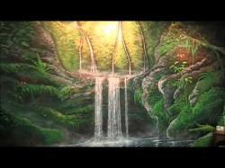 Drawn waterfall tropical waterfall