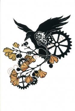 Drawn raven clockwork