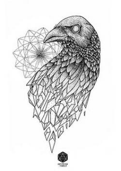 Drawn crow geometric