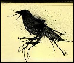 Drawn crow mystical