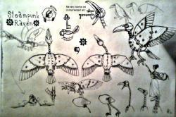 Drawn raven psychedelic