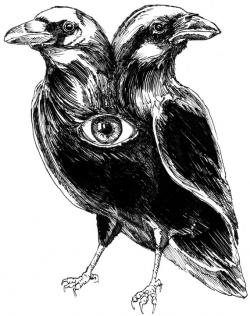 Drawn raven two headed