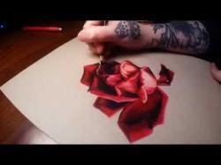 Drawn red rose bloody painter