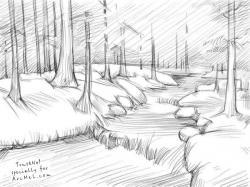 Drawn waterfall river