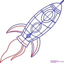 Drawn spaceship rocket ship