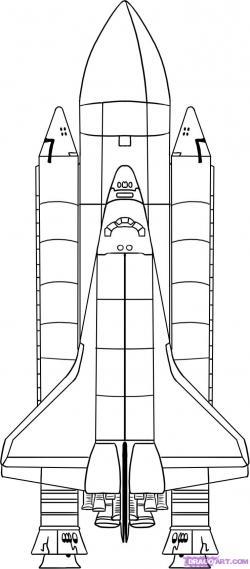 Drawn spaceship space shuttle
