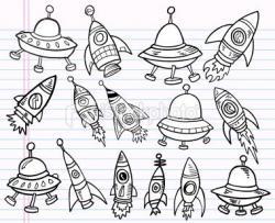 Drawn spaceship doodle