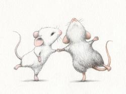 Drawn mice little mouse