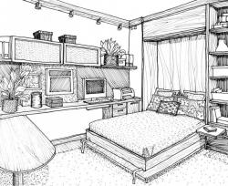 Drawn living room
