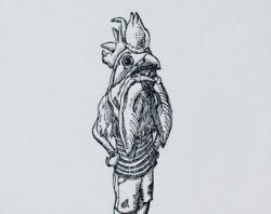 Drawn rooster woodcut
