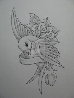 Drawn swallow flower