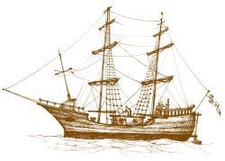 Drawn sailboat