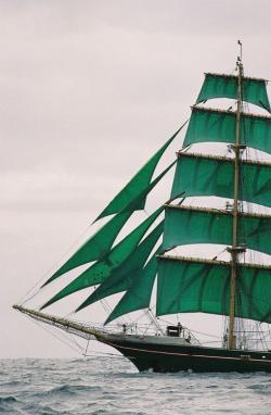 Drawn sailboat emerald