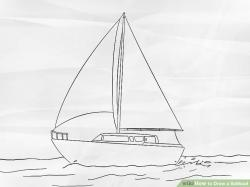 Drawn yacht water drawing